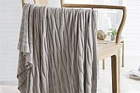 Плед вязаный 100 % хлопок бамбук 180 * 200 см. скандинавский стиль 850 г. цвет серый