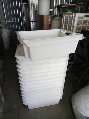 Ящик контейнер пластиковый 600х400х180 белый для продуктов б/у, фото 2