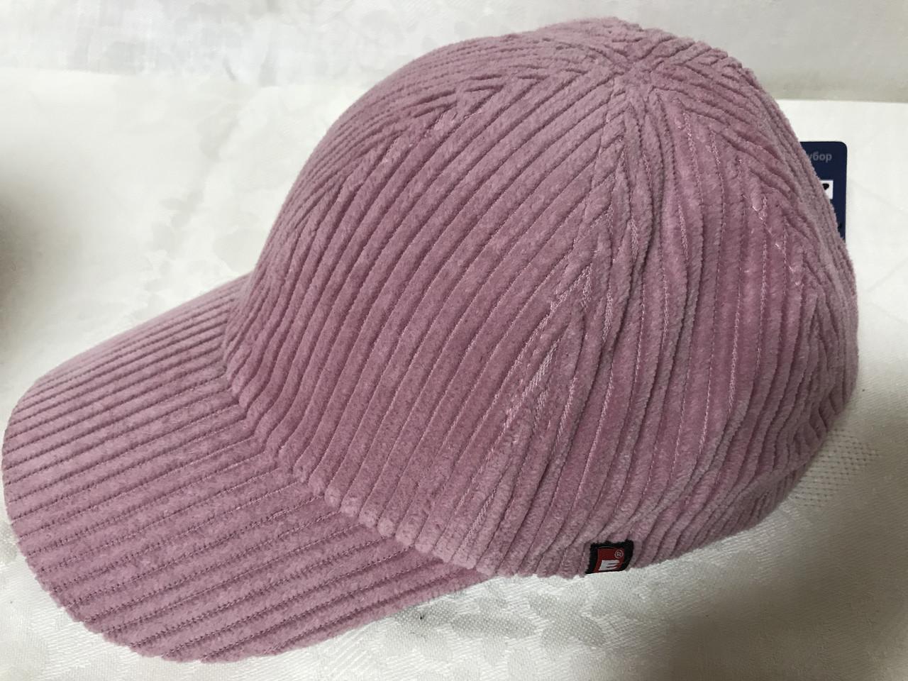 Розовая бейсболка  из крупного хлопкового вельвета 55-57-58