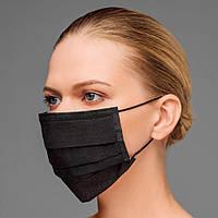 Упаковка 100 шт Маска чёрная одноразовая пайка с фиксатором для носа