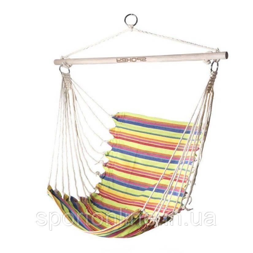 Гамак-кресло Spokey BENCH 80 см, хлопок с деревом, разноцветное