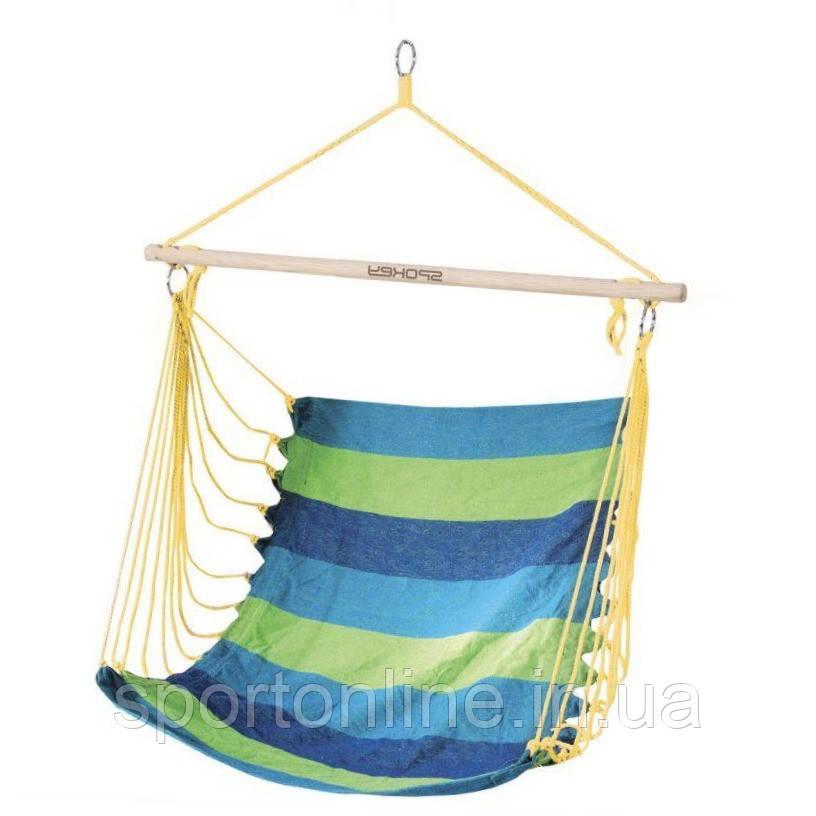 Гамак-кресло Spokey BENCH 80 см, хлопок с деревом, сине-зеленое