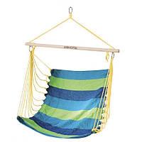 Гамак-кресло Spokey BENCH 80 см, хлопок с деревом, сине-зеленое, фото 1