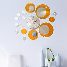 Акриловые зеркальные круги с часами серебро/медь