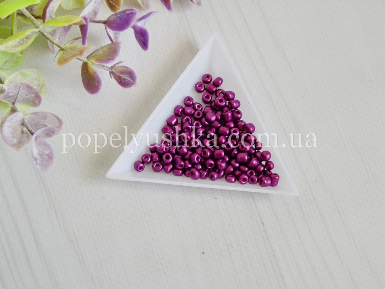 Бісер китайський крупний 3.6 мм Фіолетовий блискучий (10 г)