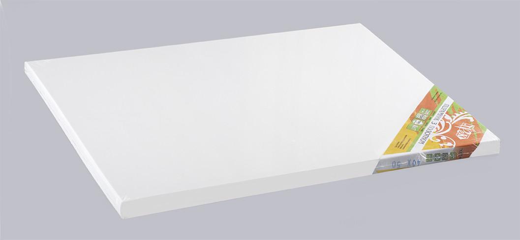 """Подрамник с холстом белый хлопок (Италия) подвернутый 40х50 Планка 40х17 """"Трек"""" Украина"""