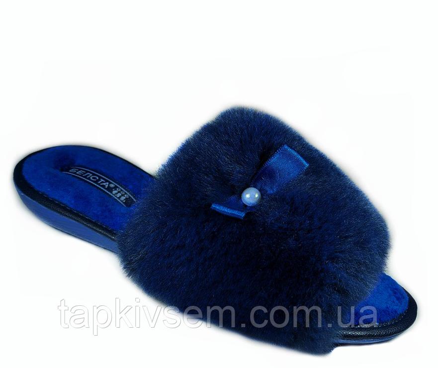 Тапочки женские Белста синие с жемчужиной 37 размер