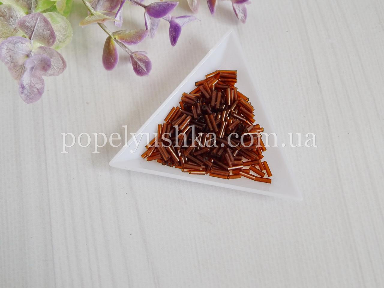 Бісер китайський рубка склярус 7 мм коричневий прозорий