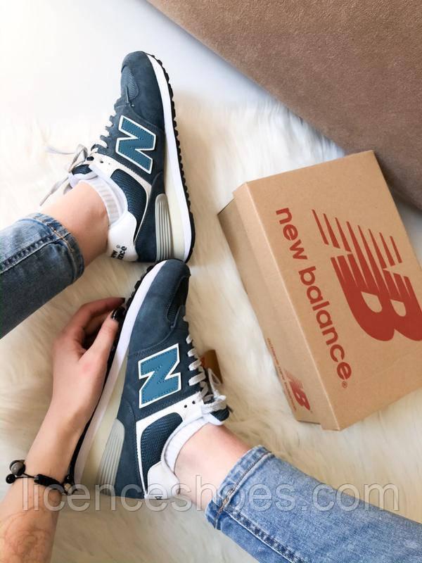 Підліткові кросівки New Balance 574 New Navy / Grey / White