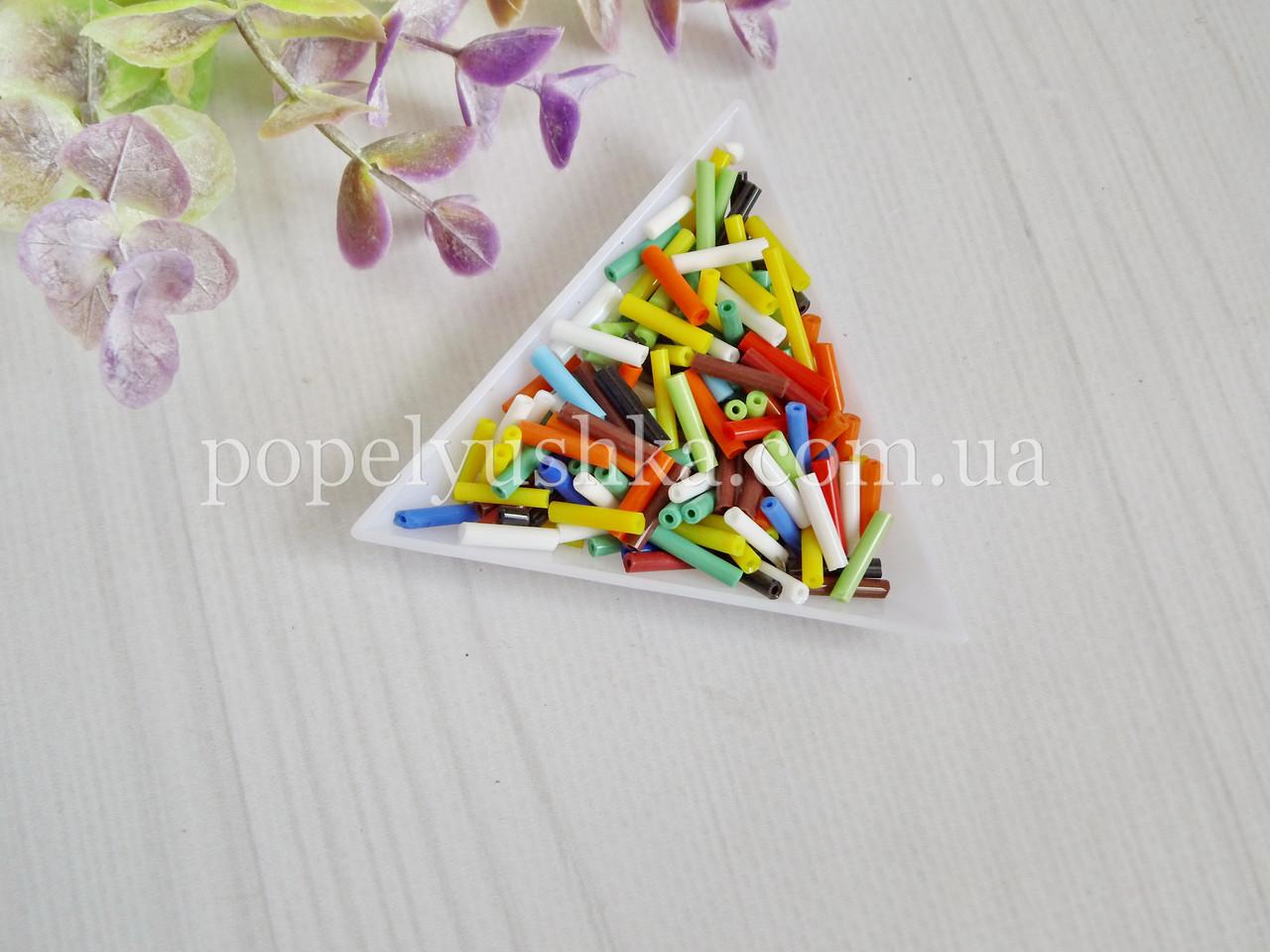 Бисер китайский рубка стеклярус 11 мм микс