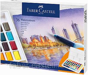 Акварельные краски Faber-Castell Watercolors in Pans, 36 цв. + ручка-кисточка с контейнером для воды, 169736