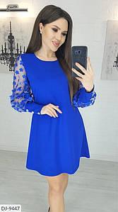 Женское платье, рукава сеточка 3д цветы. Цвета: изумруд, электрик, лиловый,чёрный, бордовый.