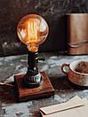 Маленька настільна лампа Pride&Joy Industrial із авто запчастин та дерева, фото 7