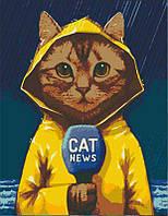 Картина по номерам  Cat news  35*45   арт.1393