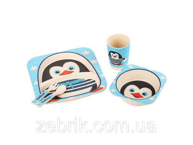 Набор детской бамбуковой посуды Пингвин