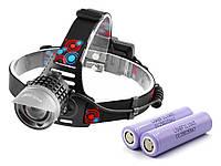 Фонарь налобный Police 2170-T6, ЗУ microUSB, zoom, Box Оригинальный аккумулятор LG 18650 3400 mAh
