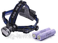 Тактический налобный фонарик Police XQ-24-T6, ЗУ 220V/12V, zoom, Box, 2 х LG 18650 3400 mAh  Черный