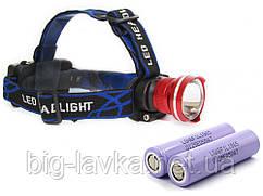 Тактический налобный фонарик Police XQ-24-T6, ЗУ 220V/12V, zoom, Box, 2 х LG 18650 3400 mAh  Красный