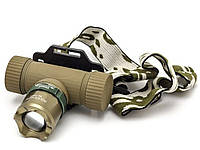 Тактический налобный фонарь 6866-XPE, ЗУ 220V/12V, zoom, Box