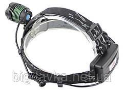 Тактический фонарик налобный Police 2189-T6, ЗУ 220V/12V, zoom, Box