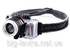 Тактический фонарик налобный 871-T6+2XPE, ЗУ microUSB