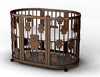 Кровать-трансформер детская IngVart Baggybed Round с мишками SKU0114000