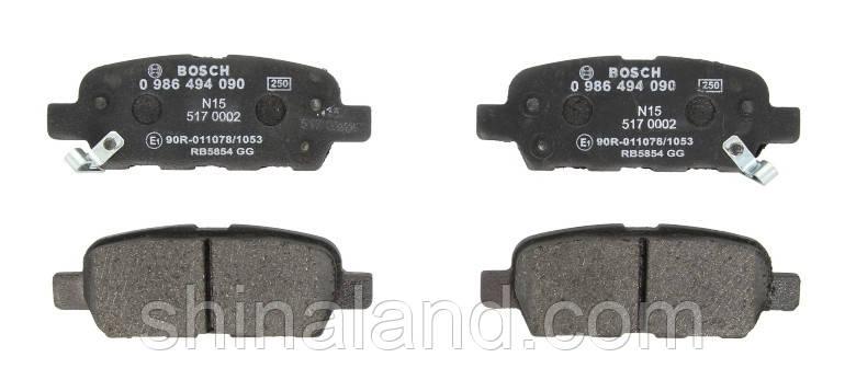 Тормозные колодки дисковые INFINITI FX, NISSAN X-TRAIL (T30) задние (Bosch) OE 44060AL585