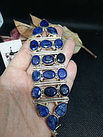 Красивый браслет с сапфиром в серебре. Браслет с натуральным камнем сапфир. Индия!