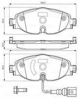 Тормозные колодки дисковые SKODA OCTAVIA 1.2-2.0TDI 2012-,VW GOLF VII 1.2-2.0TDI 2012- передние (Bosch) OE