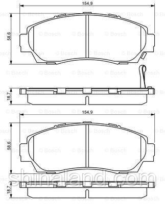 Тормозные колодки дисковые передние HONDA CR-V II, CR-V III, ODYSSEY, PILOT 2.0/2.4/3.5 09.01- Bosch OE
