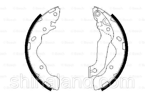 Тормозные колодки барабанные задние HYUNDAI ACCENT II, ELANTRA, MATRIX; KIA CERATO 1.3-2.0 01.00- Bosch OE