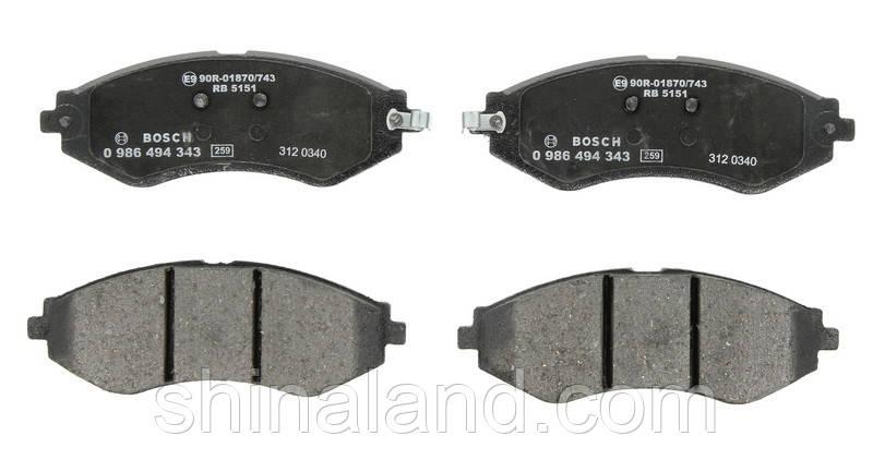 Тормозные колодки дисковые CHEVROLET LACETTI, DAEWOO NUBIRA передние (Bosch) OE 96245178