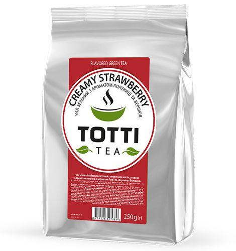 Чай зелений TOTTI Tea «Вершкова Полуниця», листовий, 250г