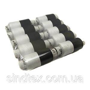 Набор ниток NITEX 40/2 100% полиэстер 180м (уп 10шт бел/черн) (ВЕЛЛ-554)