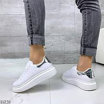 Белые кожаные кроссовки женские, фото 2