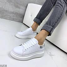 Белые кожаные кроссовки женские, фото 3