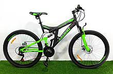 Спортивный велосипед 26 дюймов Аzimut Рower d 26 дюймов черно-зеленый + подарок. Горный велосипед Азимут.