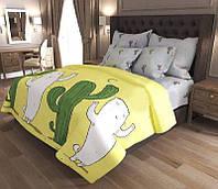Евро комплект постельного белья с кактусами