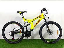 Спортивный велосипед 26 дюймов Аzimut Рower d 26 дюймов черно-желтый + подарок. Горный велосипед азимут.