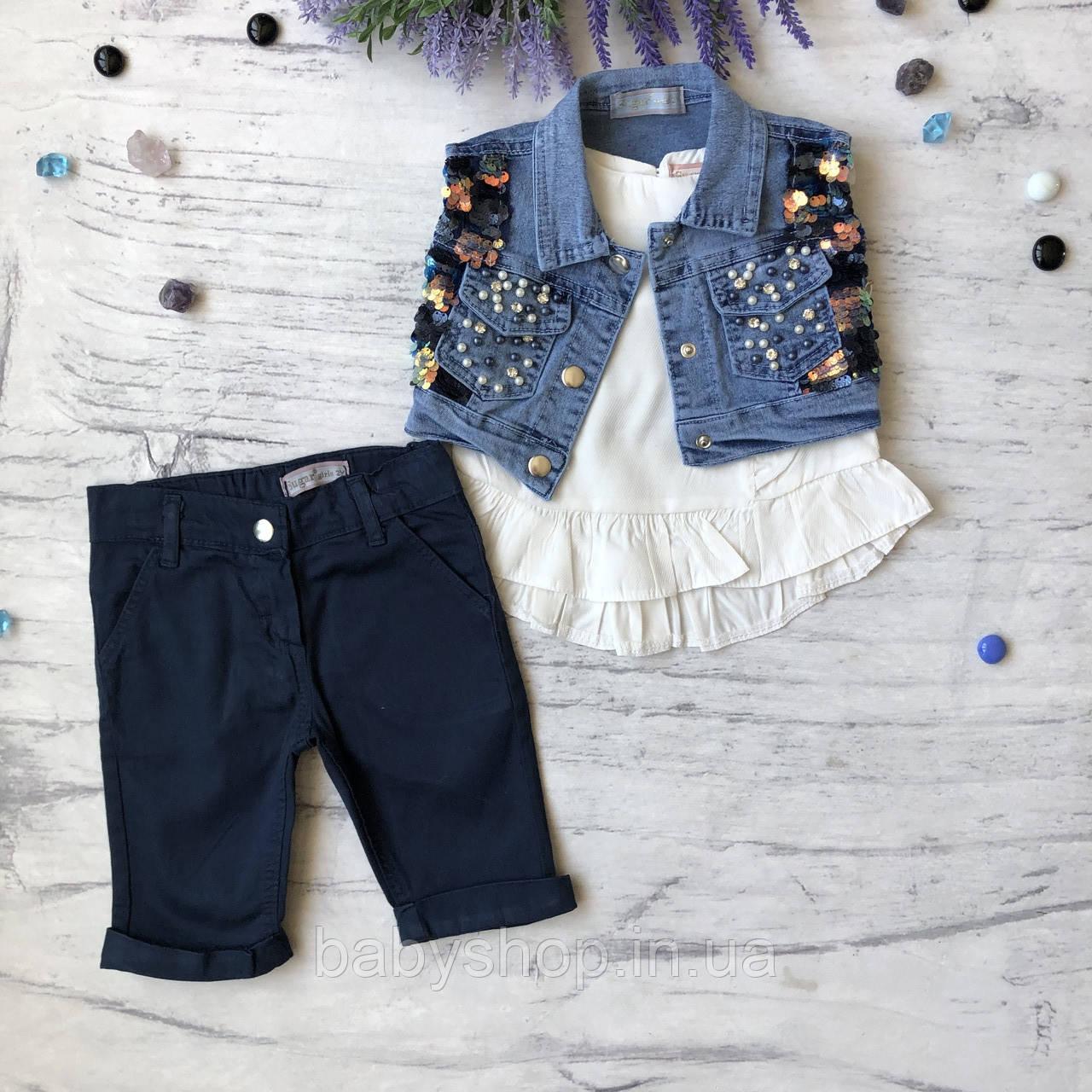 Летний джинсовый костюм на девочку 28. Размер 92 см, 98 см, 104 см