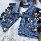 Летний джинсовый костюм на девочку 28. Размер 92 см, 98 см, 104 см, фото 2