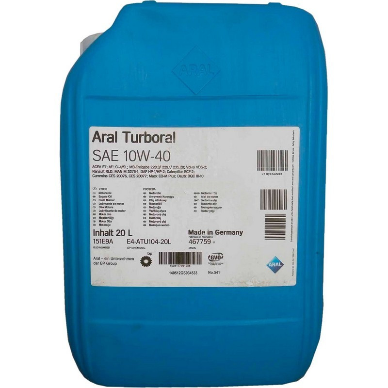 Моторное масло Aral 22003 Turboral 10W-40 20L