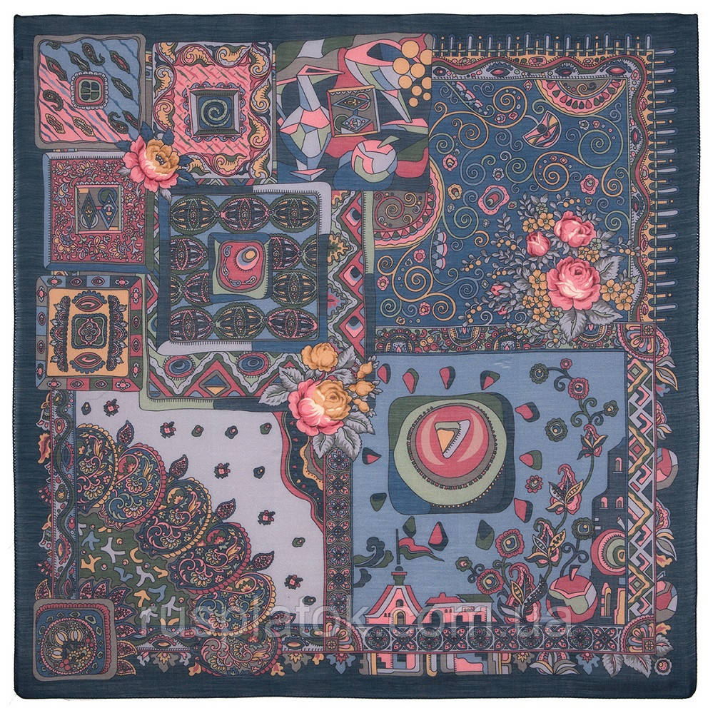 Весенняя фантазия 630-14, павлопосадский платок шерстяной (разреженная шерсть) с швом зиг-заг