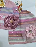 Шапка вязаная Цветок для девочки 50, фото 1