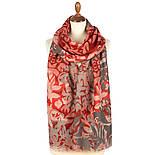 Палантин шерстяной 10396-5, павлопосадский шарф-палантин шерстяной (разреженная шерсть) с осыпкой, фото 2