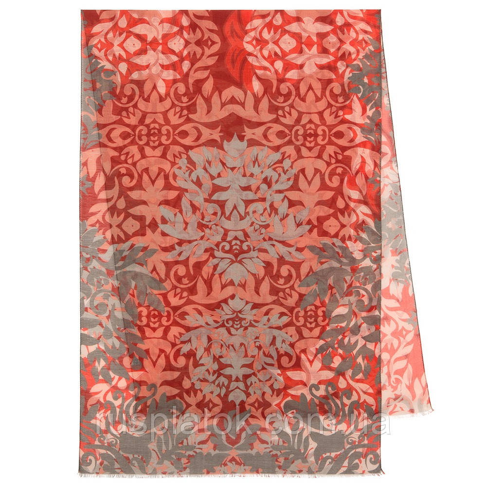 Палантин шерстяной 10396-5, павлопосадский шарф-палантин шерстяной (разреженная шерсть) с осыпкой