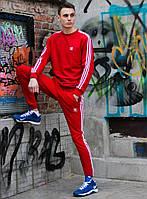 Мужской спортивный костюм Adidas Red White (адидас, красный / белый) свитшот и штаны