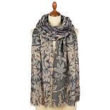 Палантин шерстяной 10396-1, павлопосадский шарф-палантин шерстяной (разреженная шерсть) с осыпкой, фото 5
