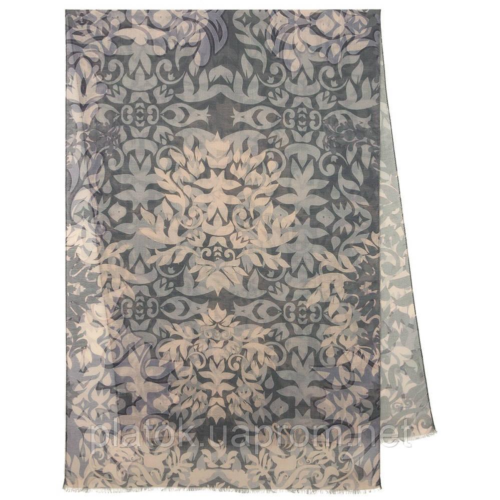 Палантин шерстяной 10396-1, павлопосадский шарф-палантин шерстяной (разреженная шерсть) с осыпкой