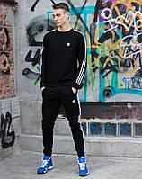 Мужской спортивный костюм Adidas Black White (адидас, черный / белый) свитшот и штаны